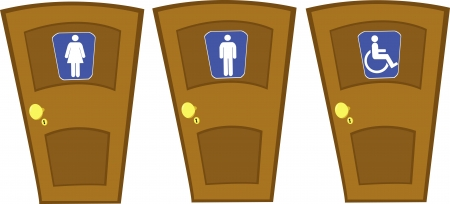 a vector cartoon representing some closed doors with wc signs Illustration