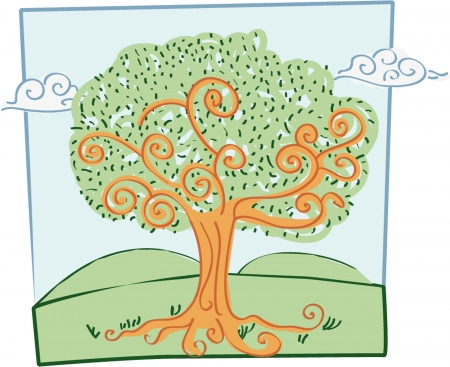 a vector cartoon representing a naif style tree maiden with a marker effect Vettoriali