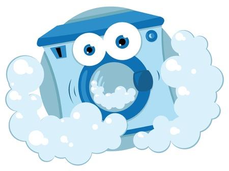 un cartone animato vettore che rappresenta una lavanderia a gettoni in amichevole bolle