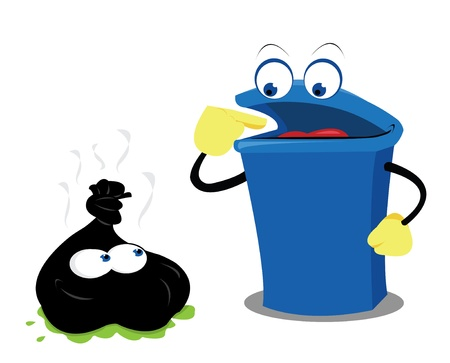 a vector cartoon representing a funny waste (not recyclable) and a bin