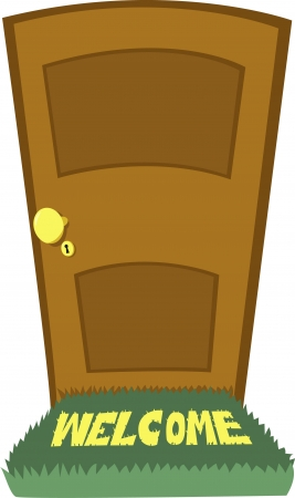 cerrar la puerta: Una puerta estrecha y una alfombra de bienvenida look-