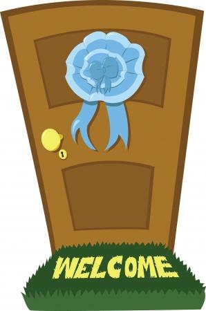 doorframe: Una puerta cerrada y un arco celeste