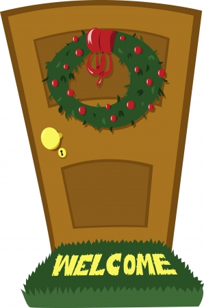 doormat: A closed door and a Christmas wreath