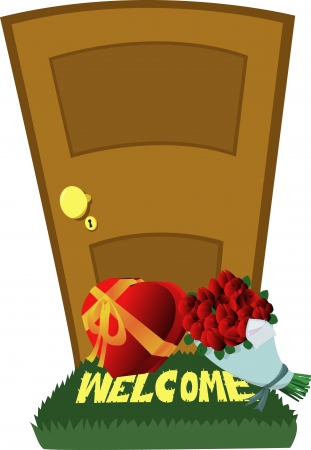doormat: A closed door and a Valentines Day surprise: red roses and a gift box