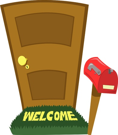 a closed door and a empty and closed mailbox Stock Vector - 15628454
