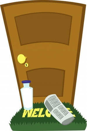 doormat: a vector cartoon representing a bottle of milk and a newspaper on the doormat