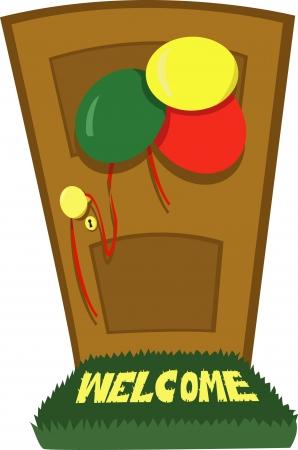 Een vector cartoon die een gesloten deur en een aantal feestdecoratie