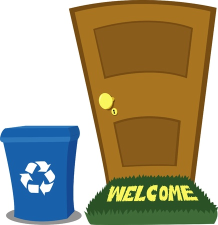 doormat: A closed door and a recycling bin, every object is singly grouped