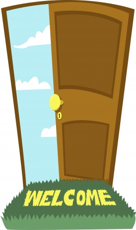you'd never thought to find that opening this door... Stock Vector - 15628442
