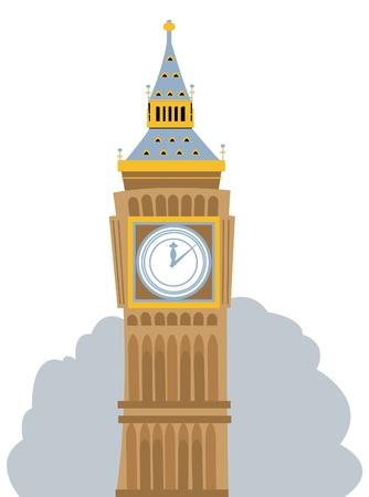 ロンドンのビッグベンを表す漫画  イラスト・ベクター素材