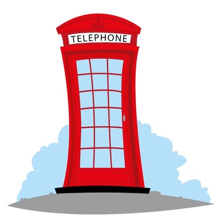 cabina telefonica: dibujos animados que representa un Tel�fono Ingl�s Vectores