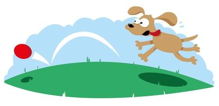 Cute Dog Following a Ball Vector