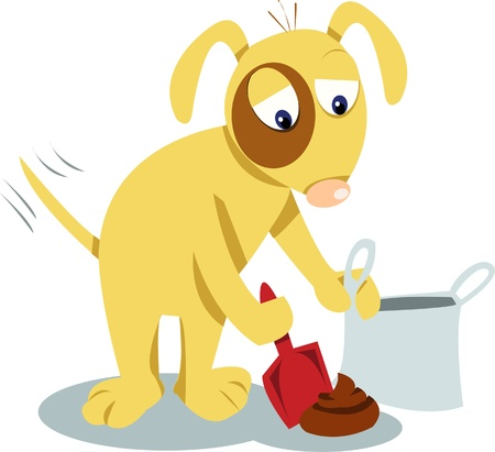 a funny dog cleaning up his new creation Vector