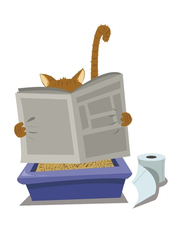 cleaning bathroom: a vector cartoon representing a funny cat looking for a moment of privacy
