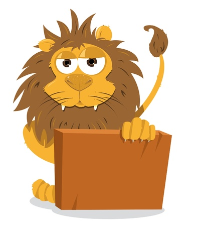 Cute Lion Holding a Blank Sign Stock Vector - 21959381
