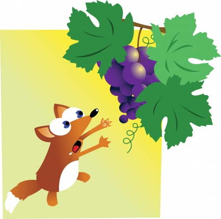 a funny Fox and Grapes Vector
