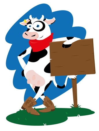 Funny western Cow Stock Vector - 21942996