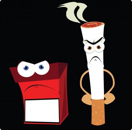 anthropomorphic: a vector cartoon representing a funny cigarette and a cigarette box