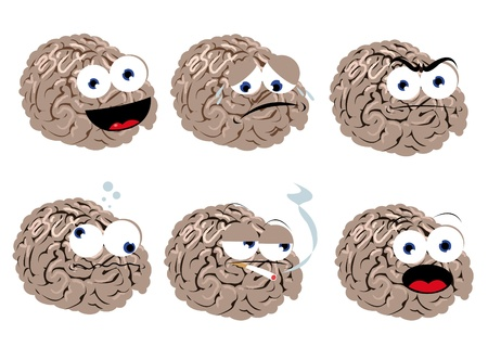 a vector cartoon representing a funny brain in different poses Illustration