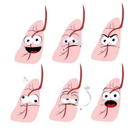 respiratory tract: a vector cartoon representing a funny lung in different poses Illustration