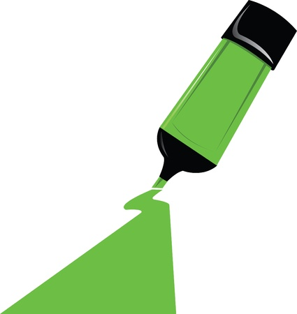 point of view: a green marker on the paper point of view