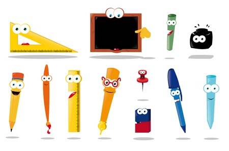 art supplies: a vector cartoon representing a funny school equipment