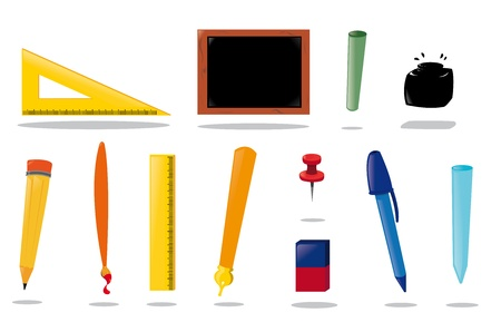 a vector cartoon representing a complete school equipment Vector