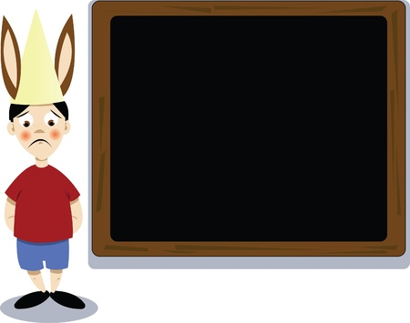 a vector cartoon representing a donkey schoolboy got punished