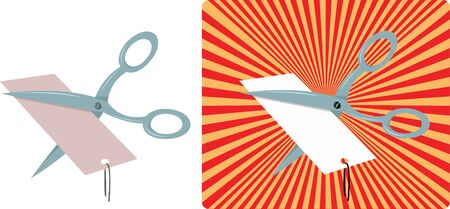 price cutting: a vector cartoon representing some scissors cutting a price tag, isolated on white and with a funny background. Every object is singly grouped