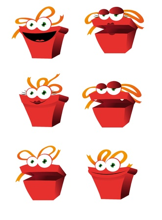 a vector cartoon representing some funny anthropomorphic presents Stock Vector - 21759889