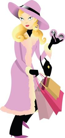a vector cartoon representing a shopping girl Vector