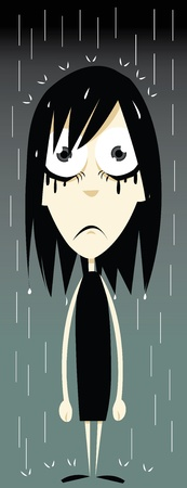 adolescence: a vector cartoon representing a emo girl having a very bad day
