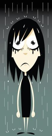 expressing negativity: a vector cartoon representing a emo girl having a very bad day