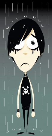 adolescence: a vector cartoon representing a funny emo boy, sadly standing in the rain - every object is singly grouped, you can easily remove water drops or skull if needed Illustration