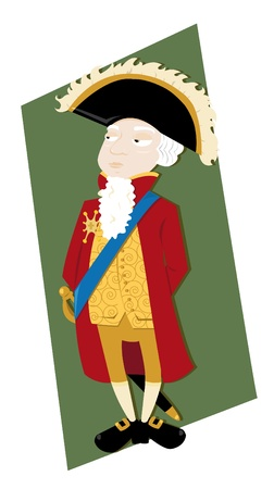 period costume: a vector cartoon representing a funny French noble