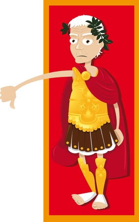 a vector cartoon represeting a funny Julius Caesar, thumbs down   Illustration