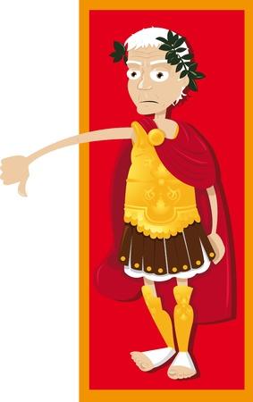 roman empire: a vector cartoon represeting a funny Julius Caesar, thumbs down   Illustration