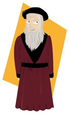 a vector cartoon representing Leonardo Da Vinci