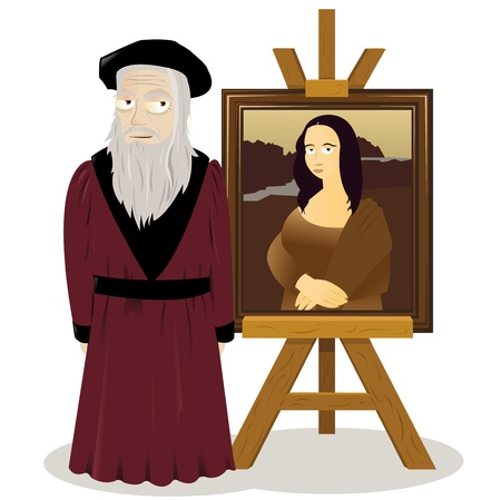a vector cartoon representing an easel with a Monalisa and Leonardo Da Vinci