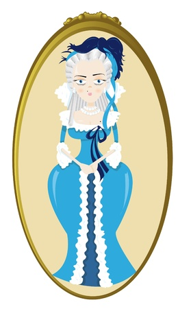 18th century style: a vector cartoon representing a funny Marie Antoinette