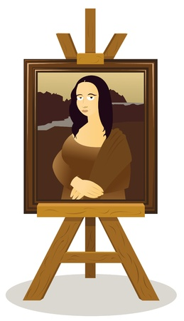 representing: a vector cartoon representing an easel with a Monalisa