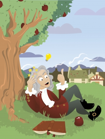 18th century style: a vector cartoon, representing Sir Isaac Newton