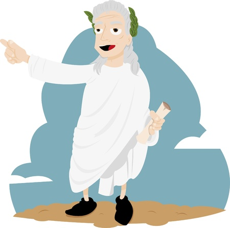 poet: a vector cartoon representing a funny Virgil showing us the right way.