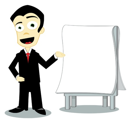 businness: businness man showing a blank page