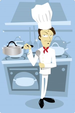 commercial kitchen: a vector cartoon representing a funny chef at work Illustration