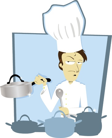 commercial kitchen: a vector cartoon representing a funny chef in a frame