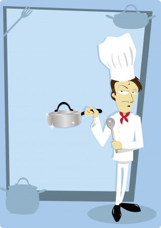 a vector cartoon representing a funny chef on a blank background, useful for menus Stock Vector - 21759913