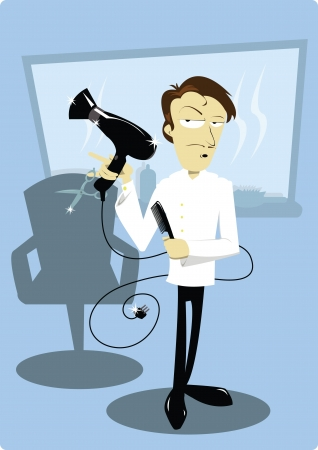 a vector cartoon showing a funny coiffure in his hair salon