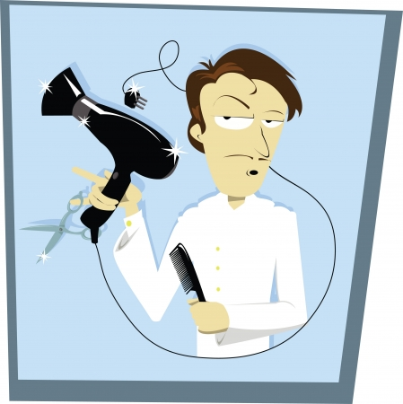 phon: A funny vector cartoon representing a hair stylist Illustration