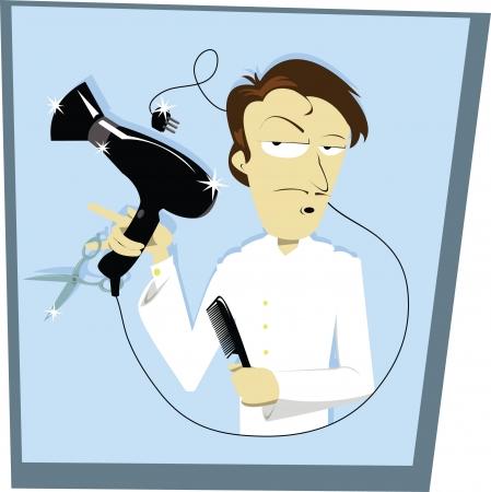 phon: A funny vector cartoon representing a hair stylist Illustration